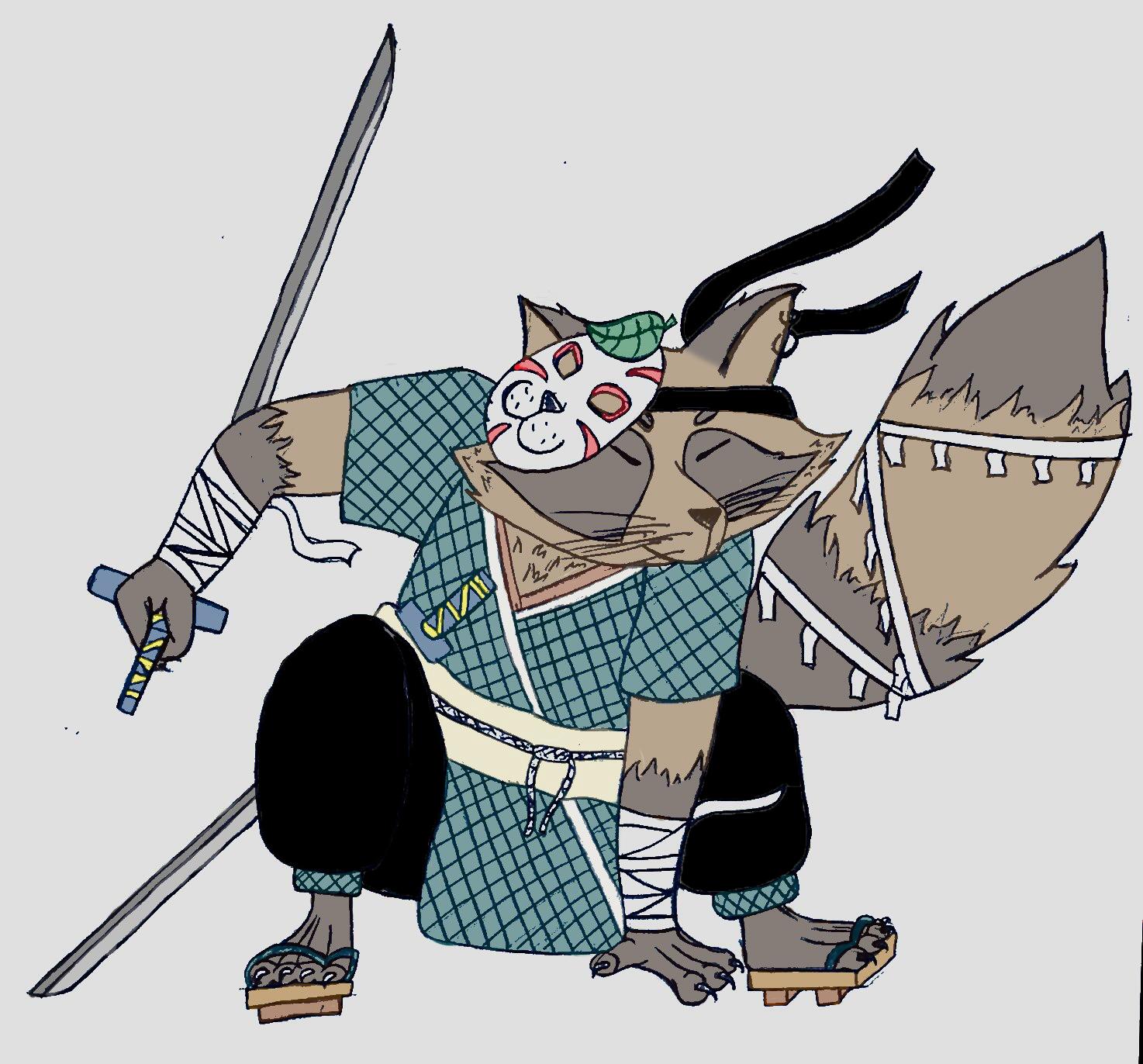 Tanuki habillé en samouraï