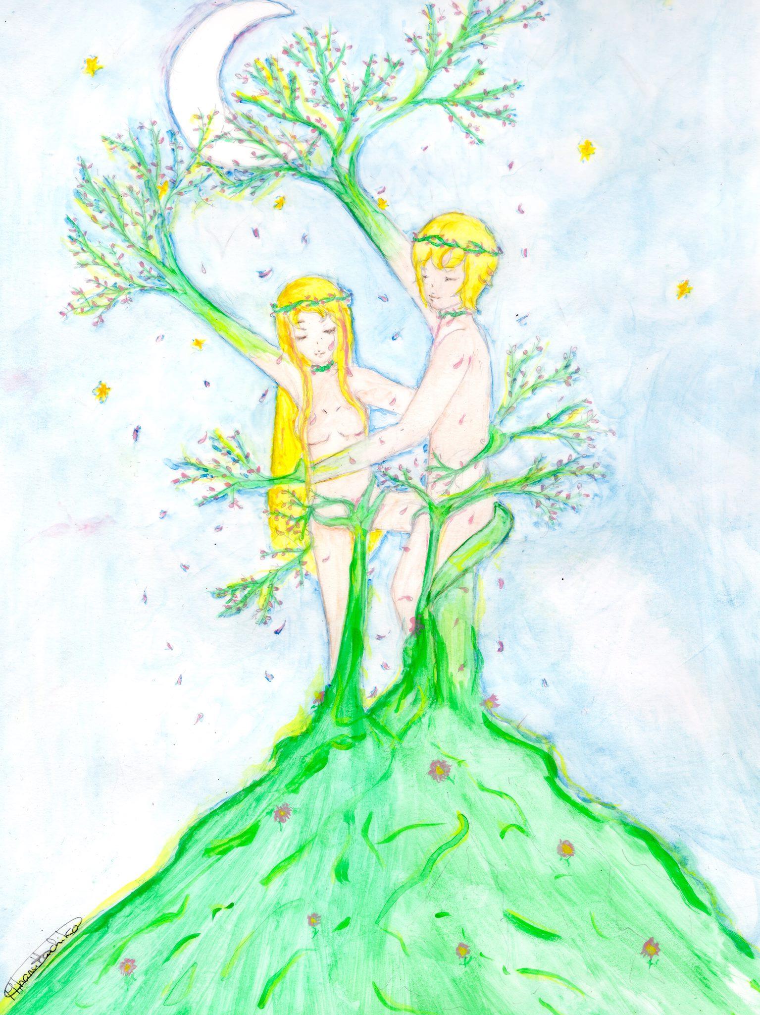 Adam et Eve nus au sommet d'une colline