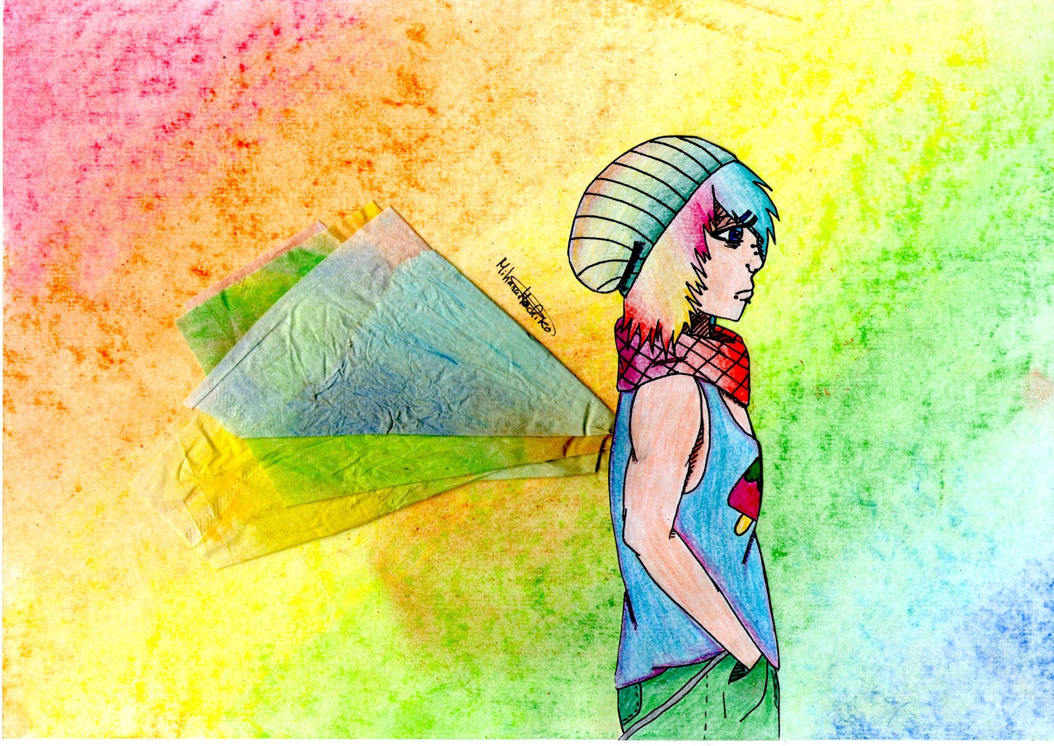 Adolescent emo avec des ailes en papier.