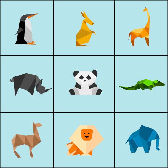 Mosaïque d'animaux polygonaux