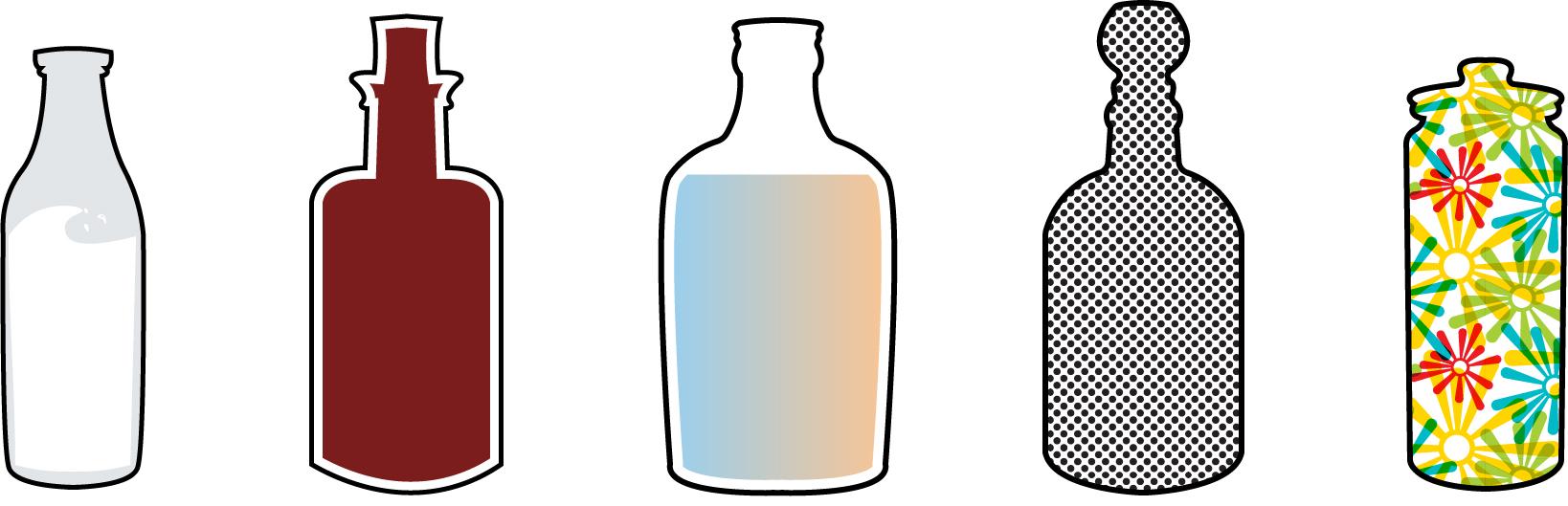 Flacons avec différents liquides colorés